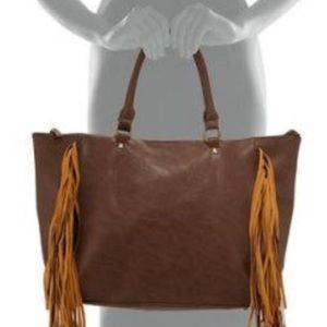 Original Handbag with Fringe Vegan Leather Brown